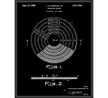 Phonograph Record Patent - Black Photographic Print