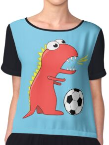 Blue Funny Cartoon Dinosaur Soccer Chiffon Top