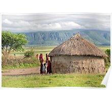 Maasai People and traditional hut Poster