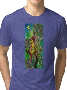 GREEN FAIRY WITH GOLD SILVER SPARKLES IN MOONLIGHT Tri-blend T-Shirt