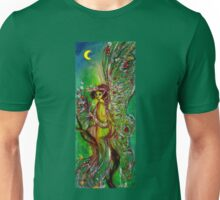 GREEN FAIRY WITH GOLD SILVER SPARKLES IN MOONLIGHT Unisex T-Shirt