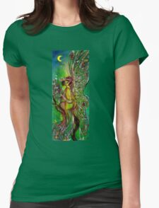 GREEN FAIRY WITH GOLD SILVER SPARKLES IN MOONLIGHT Womens Fitted T-Shirt