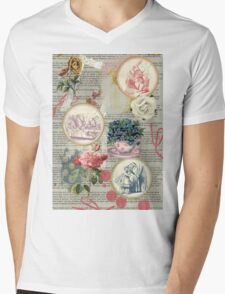 Alice floral collage Mens V-Neck T-Shirt