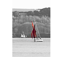Isolated Yacht Carrick Roads Photographic Print