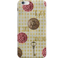 Rose gold eat me, drink me pattern iPhone Case/Skin