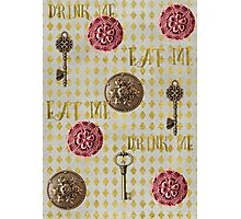 Rose gold eat me, drink me pattern Photographic Print
