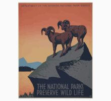 WPA United States Government Work Project Administration Poster 0019 The National Parks Preserve Wildlife Baby Tee