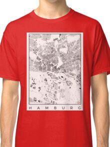 Hamburg Map Schwarzplan Only Buildings Urban Plan Classic T-Shirt