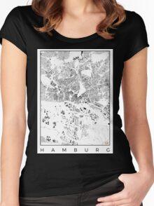 Hamburg Map Schwarzplan Only Buildings Urban Plan Women's Fitted Scoop T-Shirt