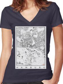 Hamburg Map Schwarzplan Only Buildings Urban Plan Women's Fitted V-Neck T-Shirt