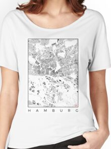 Hamburg Map Schwarzplan Only Buildings Urban Plan Women's Relaxed Fit T-Shirt
