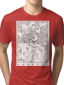 Hamburg Map Schwarzplan Only Buildings Urban Plan Tri-blend T-Shirt