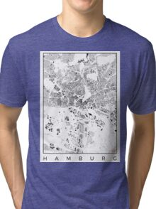 Hamburg Map Schwarzplan Only Buildings Urban Plan Tri-blend T-Shirt