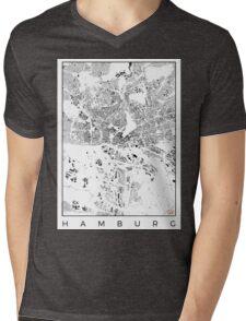 Hamburg Map Schwarzplan Only Buildings Urban Plan Mens V-Neck T-Shirt