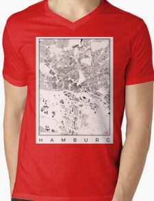Hamburg Map Schwarzplan Only Buildings Urban Plan Mens V-Neck T-Shirt