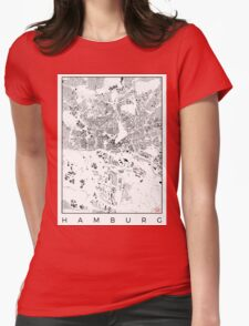 Hamburg Map Schwarzplan Only Buildings Urban Plan Womens Fitted T-Shirt