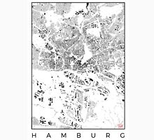 Hamburg Map Schwarzplan Only Buildings Urban Plan Unisex T-Shirt