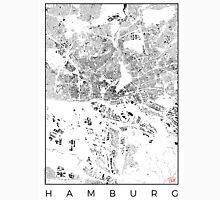 Hamburg Map Schwarzplan Only Buildings Urban Plan Unisex T-Shirt