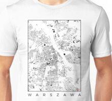 Warszawa Map Schwarzplan Only Buildings Urban Plan Unisex T-Shirt