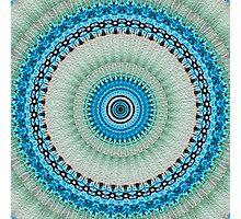 Blue Floral Mandala Photographic Print