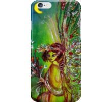 GREEN FAIRY WITH GOLD SILVER SPARKLES IN MOONLIGHT iPhone Case/Skin