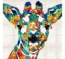 Colorful Giraffe Art - Curious - By Sharon Cummings Photographic Print