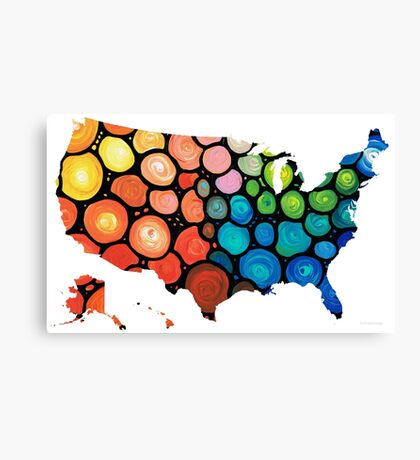 United States of America Map 1 - Colorful USA Canvas Print