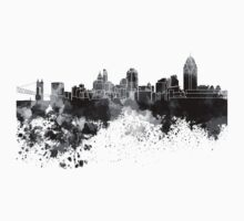 Cincinnati skyline in black watercolor One Piece - Short Sleeve