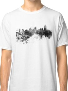Cincinnati skyline in black watercolor Classic T-Shirt