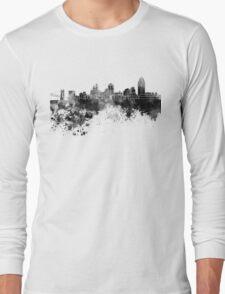 Cincinnati skyline in black watercolor Long Sleeve T-Shirt
