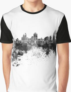 Cincinnati skyline in black watercolor Graphic T-Shirt