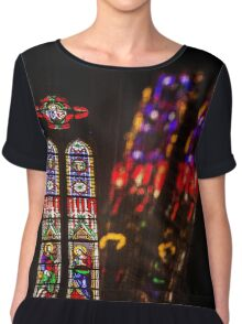 France. Montpellier. Cathedral. Stained Glass Window & Reflection. Chiffon Top