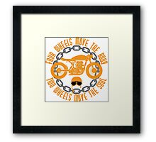 Four Wheels Move The Body, Two Wheels Move The Soul. Motorcycle Quote Framed Print