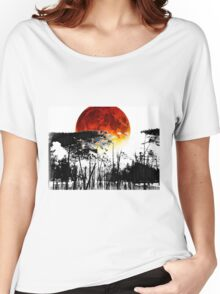 The Red Moon - Landscape Art By Sharon Cummings Women's Relaxed Fit T-Shirt