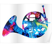 Colorful French Horn 2 - Cool Colors Abstract Art Sharon Cummings Poster