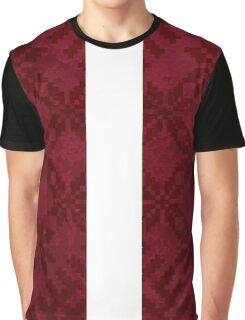 Latvian Flag with Traditional Pattern Graphic T-Shirt