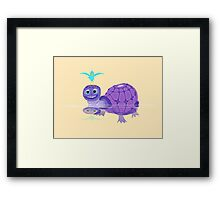 The Purple Turtle And A Bluebird Of Glee Framed Print