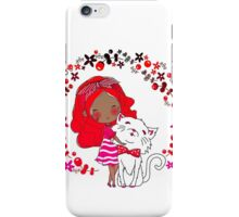 Cute Sketchy Girl With Her Cat iPhone Case/Skin