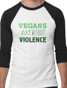 Vegans eat without violence Men's Baseball ¾ T-Shirt