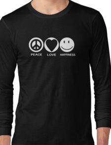 Peace Love Happiness Cute Sayings Long Sleeve T-Shirt