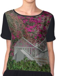 Egyptian White Stairway to Pink Bougainvillea Chiffon Top