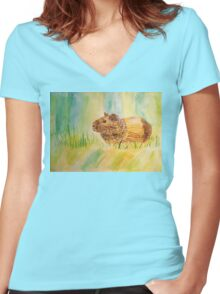 Hamster Watercolor Pattern Design Women's Fitted V-Neck T-Shirt