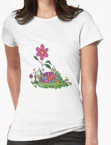 Turtle In the Flowers Womens Fitted T-Shirt