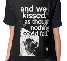 """""""And we kissed, as though nothing could fall"""" - David Bowie (orange) Chiffon Top"""