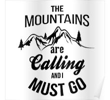 typograph Mountains are calling Poster