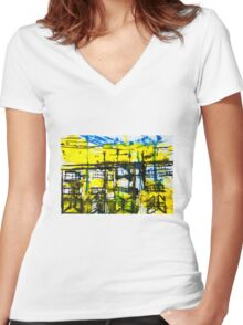 Buildings III Women's Fitted V-Neck T-Shirt