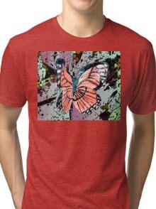 Orange butterfly design Tri-blend T-Shirt