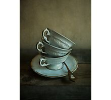 White ornamented teacups Photographic Print