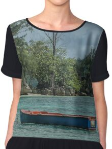 Seychelles Simple Rowing Boat Exotic Location Chiffon Top