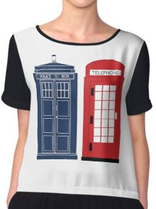 Dr. Who Phone Booth Chiffon Top